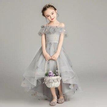 3~14Yrs Children Girls Good Quality Princess Lovely Suspender Dress For Wedding Birthday Party Model Catwalk Costumes Tail Dress