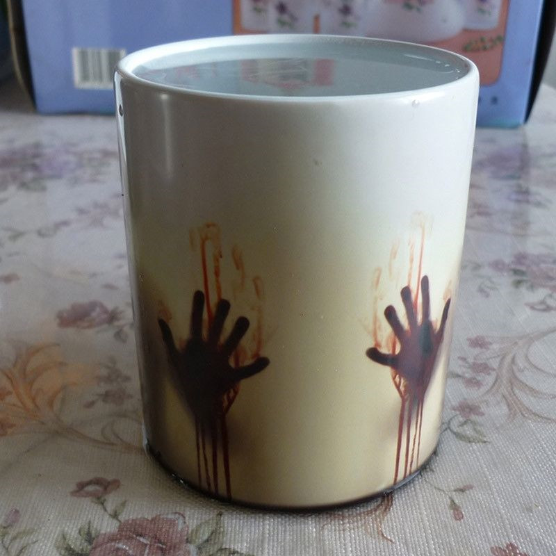 Newest Design Zombie Magic Color Changing Coffee Mug printing with Walking Dead Bloody hands and Head