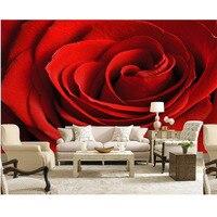 3d foto papel de parede para paredes murais personalizado diy linda rosa vermelha Papéis de Parede de flores Sala de estar papel mural parágrafo pared Novo 308