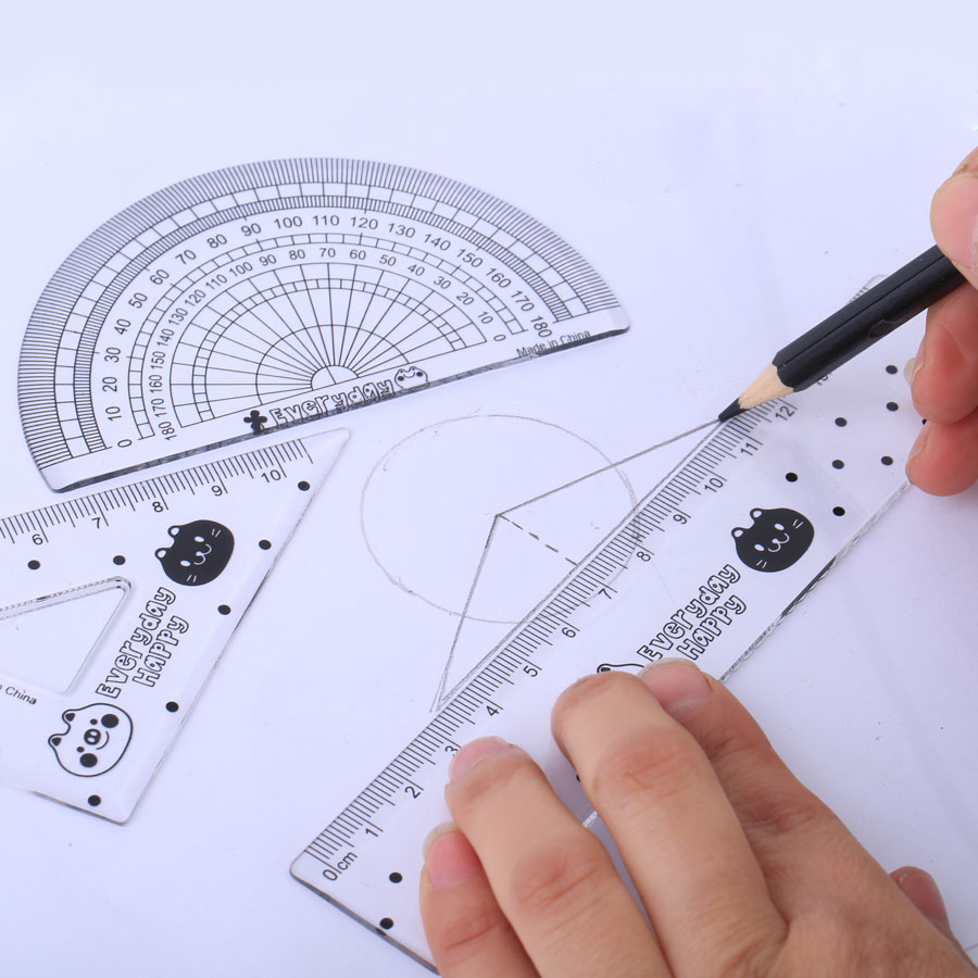 4Pcs/Pack Students Drawing Ruler Set Square Triangle Ruler Plastic Protractor Four Sets Office School Supplies