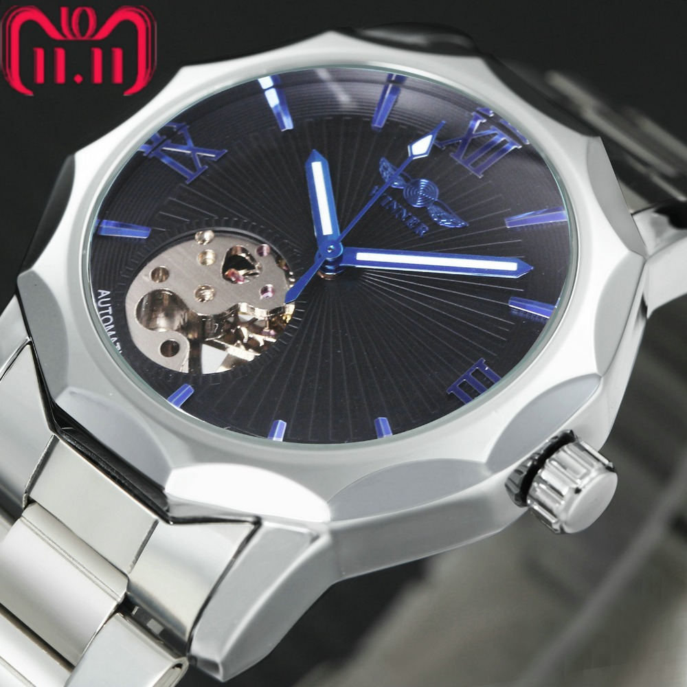 WINNER Fashion Watch Men Auto Mechanical Watches Skeleton Dial Stainless Steel Strap Geometry Transparent Case Classic montre