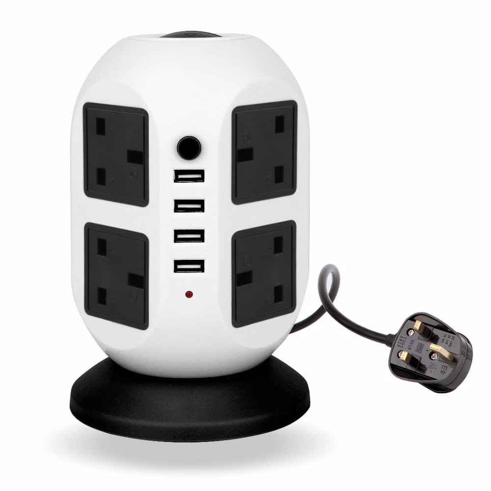 New Electrical Plugs Sockets Power Strip UK Plug 4 USB+8 Outlet Standard UK  Wall Socket Extension Cable Cord Plug plug 4 outlet power strip