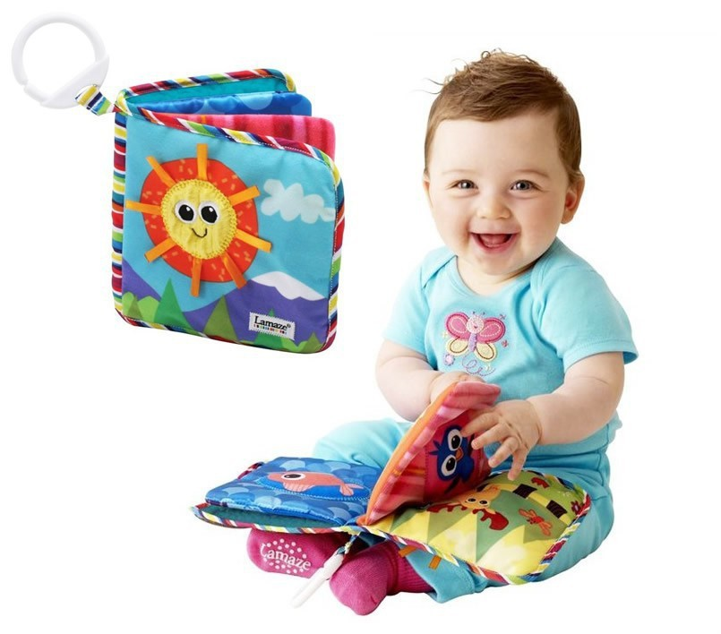 Baby Toys Sun Cloth Book Musical Doll Early Development Books Baby's First Book With BB Rattle Early Education 15cm*15cm