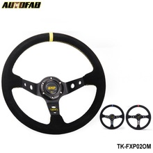 AUTOFAB - JDM 350mm BLACK/YELLOW/RED Universal Car Auto Racing Steering Wheel Suede Leather AF-FXP02OM