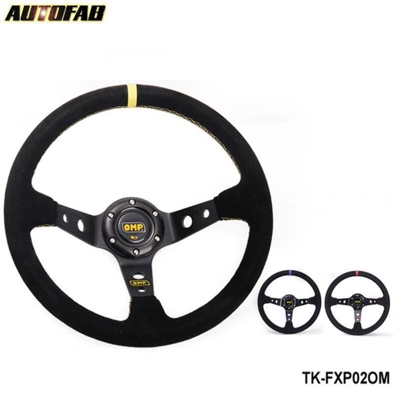 Prix pour AUTOFAB-JDM 350mm NOIR/JAUNE/ROUGE Universal Car Auto Racing Volant En Cuir Suédé AF-FXP02OM