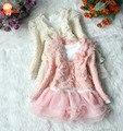 2015 nuevo vestido floral de otoño lolita para niñas vestidos infantiles de 2 piezas abrigo + vestido ropa para niñas