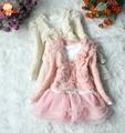 Vestido para menina Lolita de Outono e Inverno novo 2015, vestido infantil floral, vestidos infantis, roupas para menina infantis, Vestido+Casaco para menina, 2 peças/conjunto