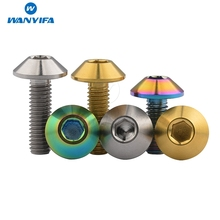 Wanyifa Titanium Ti Button Allen Hex Head M6x 12 15 20mm Bolt 3 Colors 5pcs anti theft ti bolt m14x1 25 m12x1 5 flange titanium bolt for car diy for racing cars ti color hex ti screws ti fasteners