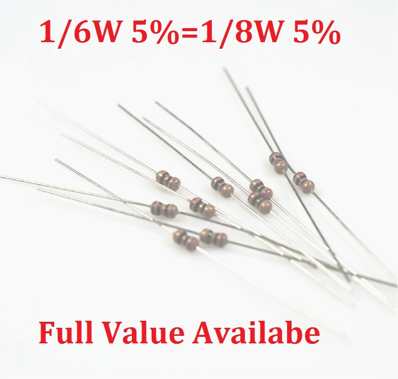 1000PCS/LOT 1/6W 1/8W 4.7R/5.1R/6.8R/10R/12R resistance of 4.7/<font><b>5.1</b></font>/6.8/10/12 <font><b>ohm</b></font> <font><b>resistor</b></font> color ring carbon film <font><b>resistors</b></font> image