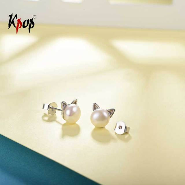 Kpop Cute Cat Earrings 925 Sterling Silver Natural Freshwater Real Pearl Earrings Stud Valentines Day Gift E6009