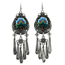 MYTHIC AGE Vintage Tribal Embroidery Embroidered Flower Fish Long Tassel Drop Earrings For Women New Jewelry vintage circle tassel fish hook earrings