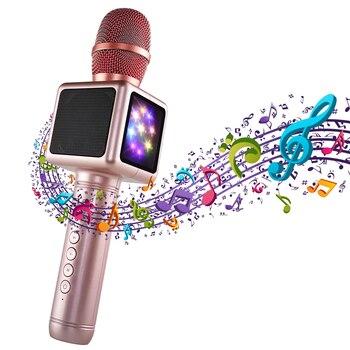 Беспроводной микрофон караоке Mikrofon с конденсатором и bluetooth динамик Microfono Music Sing Player караоке для смартфонов
