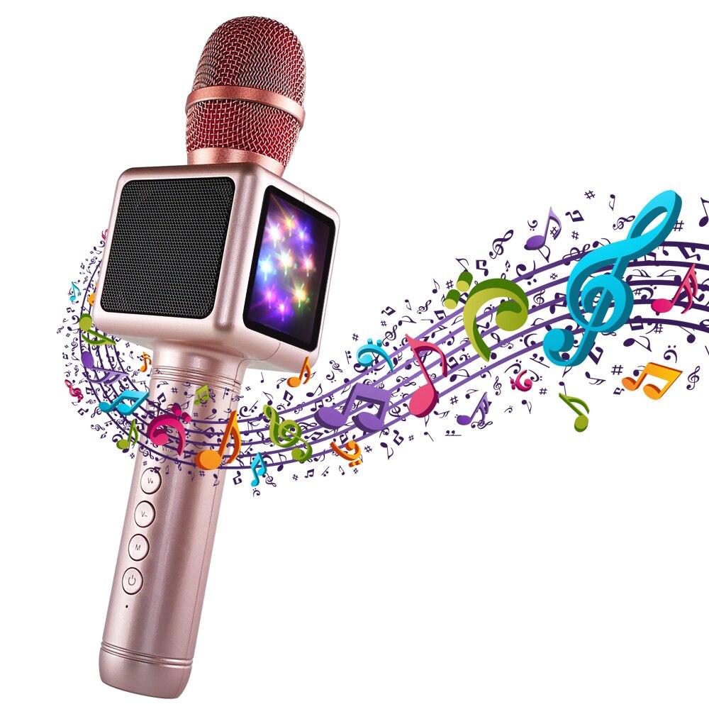Wireless Microphone Karaoke Mikrofon Condenser Bluetooth Speaker Microfono Music Sing Player Karaoke Microfone for Smart Phone
