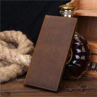 100% Genuine leather Brand men long wallets Vintage purse with coin bag card holder wholesale luxury designer brand wallets