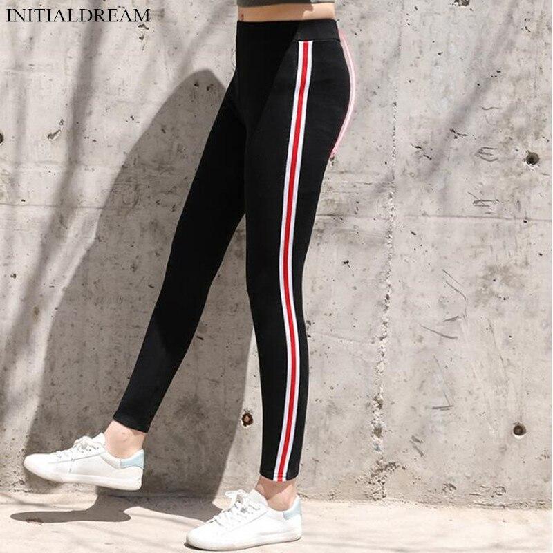 New 2018 Autumn Women Cotton Side Stripe Leggings High
