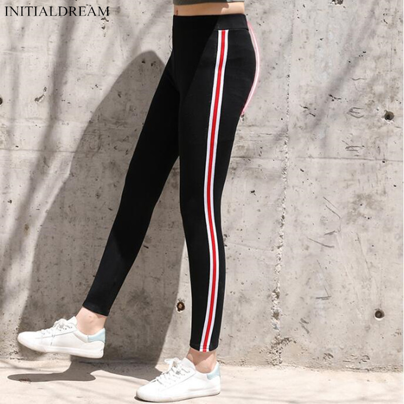New 2018 Autumn Women Cotton Side Stripe   Leggings   High Waist Gothic Fitness   Leggings   Sporting Pants Casual Women's Trousers