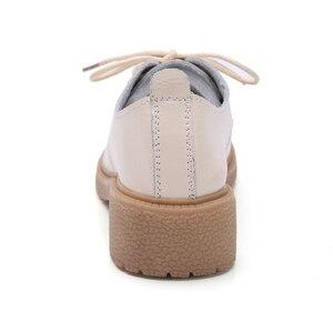 Image 5 - Женские туфли оксфорды из натуральной кожи, на квадратном каблуке 3,5 см
