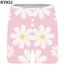 KYKU Brand Flower Shorts Women Pink Casual Short Pants Harajuku Sexy 3d Printed Gothic Ladies Womens High Waist 2018 New