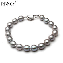 Beautiful grey freshwater pearl bracelet women wedding 925 sterling silver jewlery cultured charm bracelet girl birthday gift beautiful natural freshwater multicolor pearl bracelet women wedding charm bracelet 925 silver jewlery girl birthday gift box