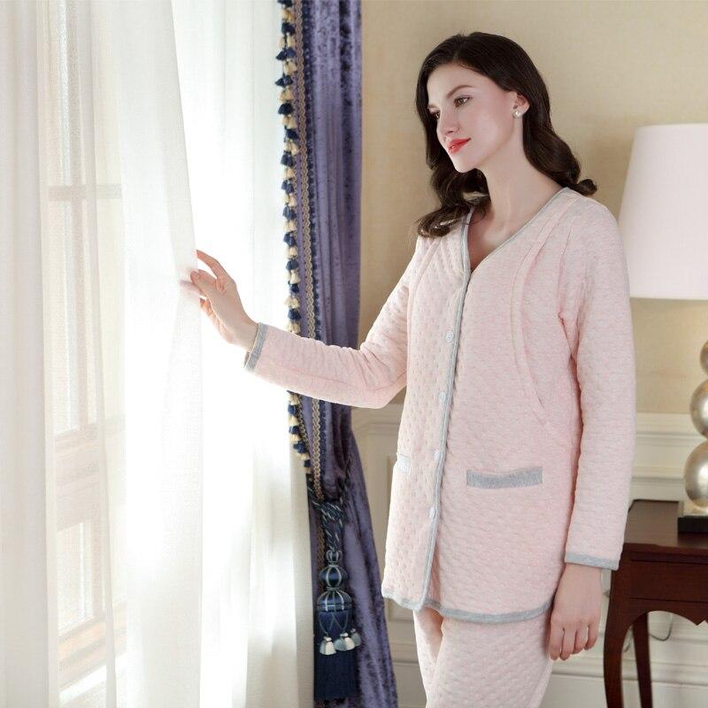 Sally Nice Maternity Lactation Pregnancy Clothes Sleepwear Breastfeeding Pink Nursing Pajamas Pregnant Women Comfy Loose Cotton