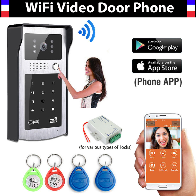 Wireless Wifi IP Digital Video doorbell Door Phone System Support RFID Code Keypad Unlock wireless Video Doorphone Intercom