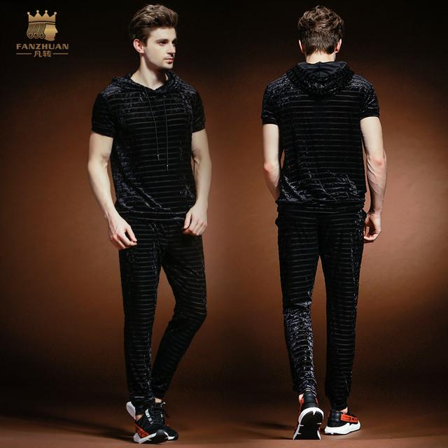 FANZHUAN Free Shipping New casual 2018 male Men's Summer thin short sleeved t shirt trousers two piece set BLUE slim 821006BU