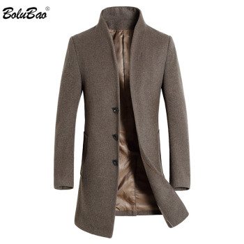 BOLUBAO Men Winter Wool Coat Men's Fashion Brand Solid Color Warm Thick Wool Blends Woolen Pea Coat Male Trench Coat Overcoat