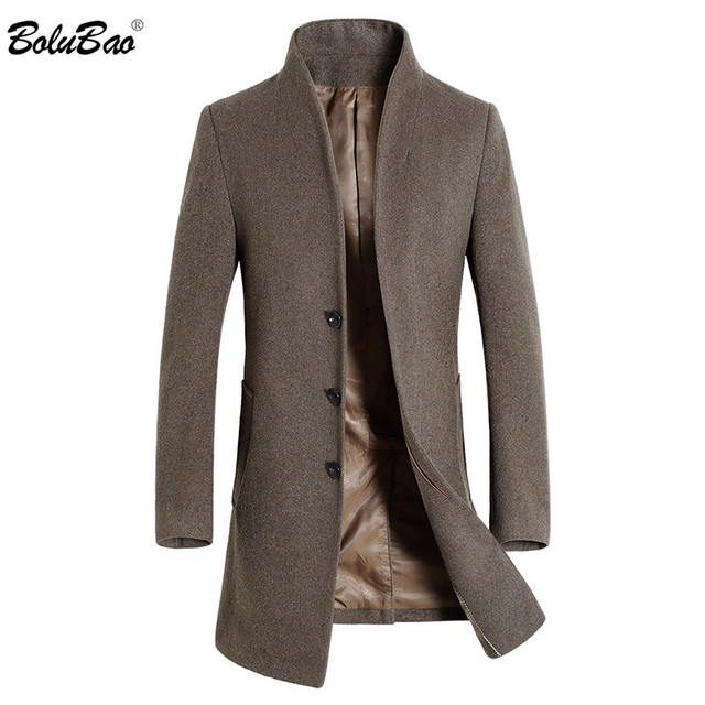 BOLUBAO Men Winter Wool Coat Men's Fashion Brand Solid Color Warm Thick Wool Blends Woolen Pea Coat Male Trench Coat Overcoat