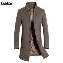 BOLUBAO Men Winter Wool Coat Mens Fashion Brand Solid Color Warm Thick Wool Blends Woolen Pea Coat Male Trench Coat Overcoat cheap Wool Blends Casual Full Long Cashmere Polyester Mandarin Collar Single Breasted Wool Polyester Pockets NONE Broadcloth