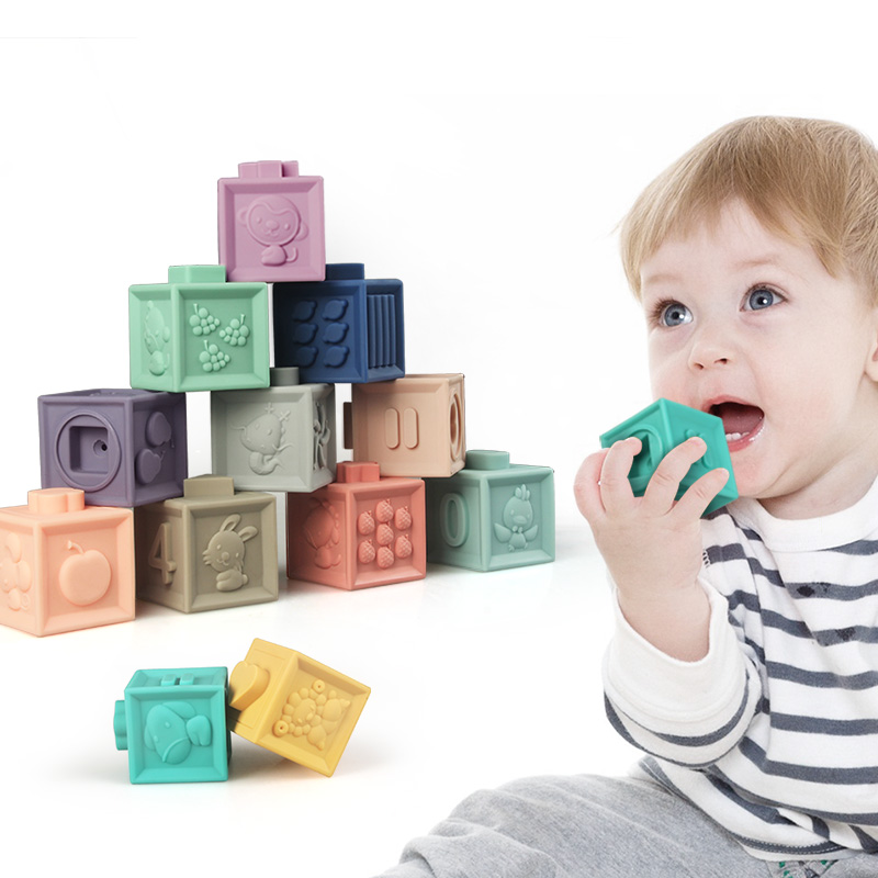 12pcs/set Baby Grasp Toy Building Blocks 3D Touch Hand Soft Balls Baby Massage Rubber Teethers Squeeze Toy Bath Ball Toys Drop