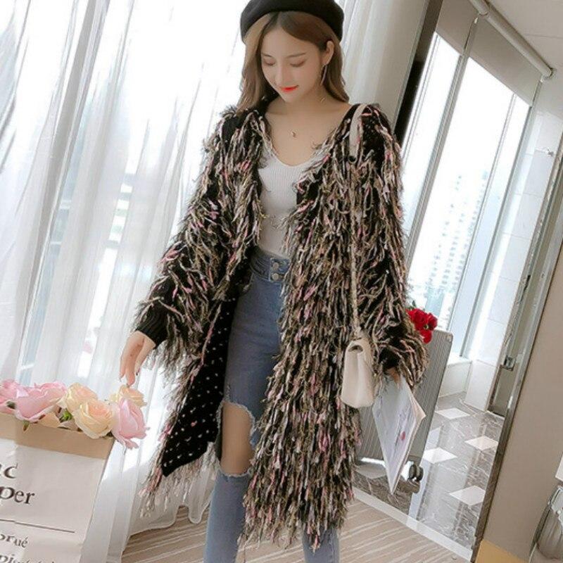 Mohair Coat Crocheted-Jacket Tassels-Cardigan Fringed-Sweater V-Neck Hand-Knit Long-Sleeved