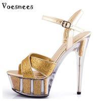 ブライダルシューズ女性2017夏ハイヒールの靴15センチ太い黒ハイヒール防水サンダルモデルキャットウォークサン