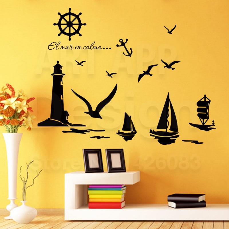 Art new design Lighthouse cheap home decor cartoon birds wall ...