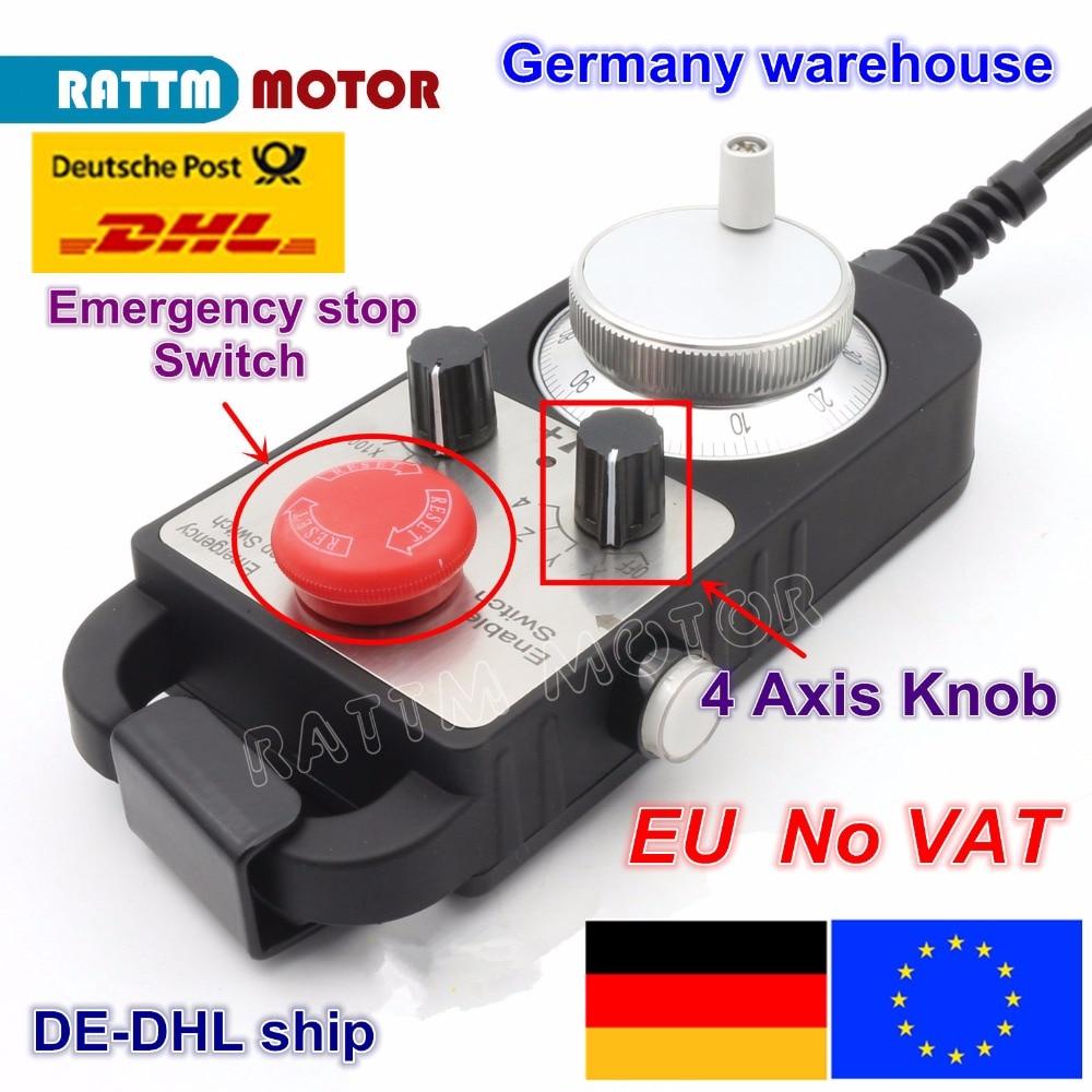 【EU Ship Free VAT】 Universal Cnc 4 Axis Mpg Pendant HandWheel 100 Pulse 5V & Emergency Stop Cnc Router Handwheel 4 Axis Type