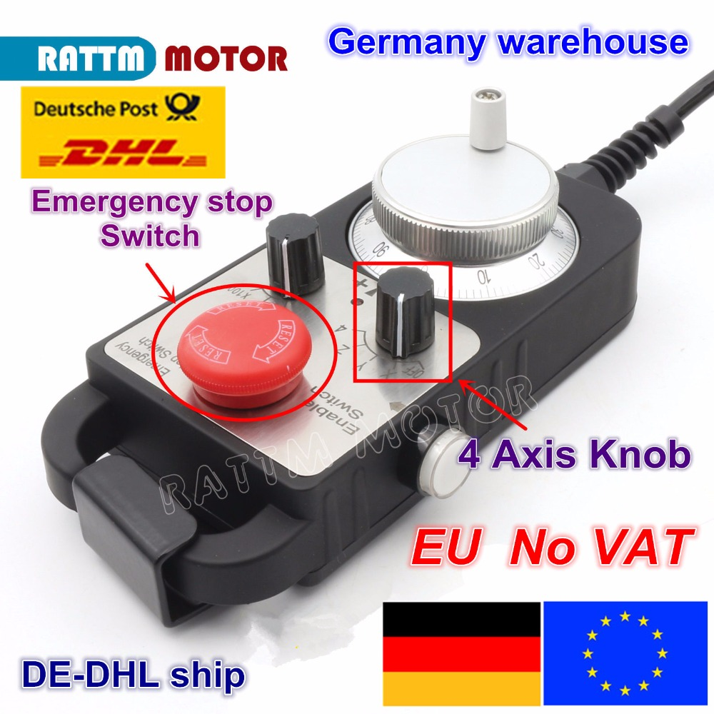EU ship free VAT Emergency stop hand wheel Universal CNC Router Hand Wheel 4 Axis MPG Pendant Handwheel Emergency Stop free shipping cnc electronic hand wheel hand wheel lathe accessories systems mpg handwheel diameter 80mm 5v 6pin pulse 100