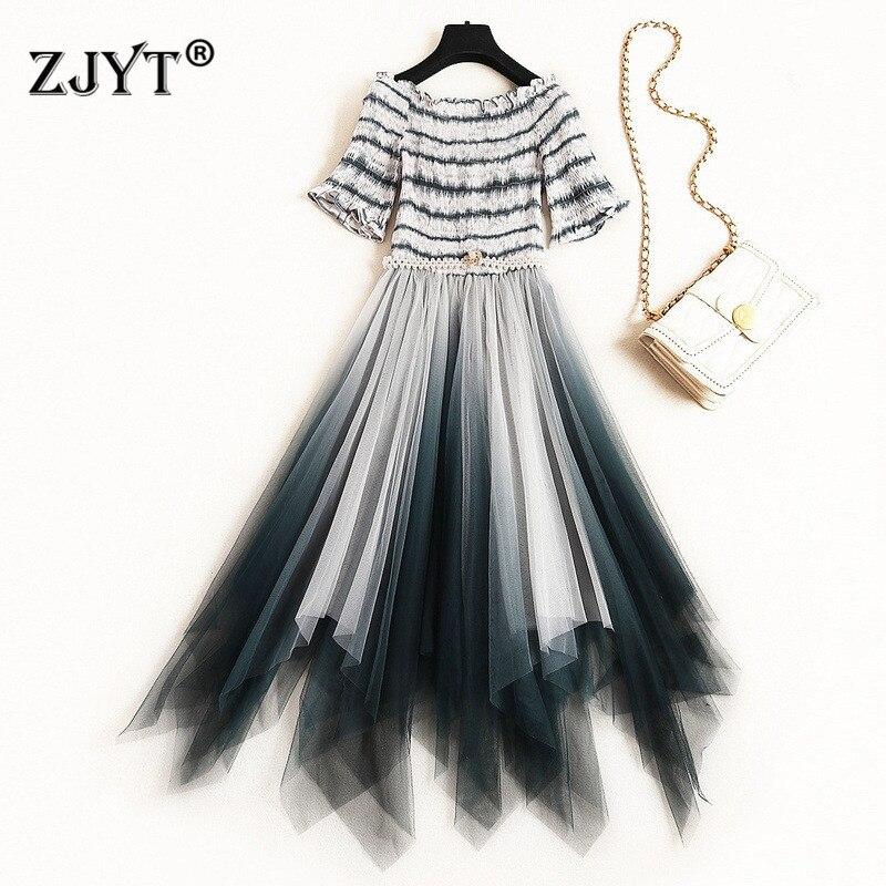 Nouveau Designer robe d'été femmes vêtements 2019 élégante dame Slash cou hors épaule rayé irrégulière Tulle robe de soirée robe femme