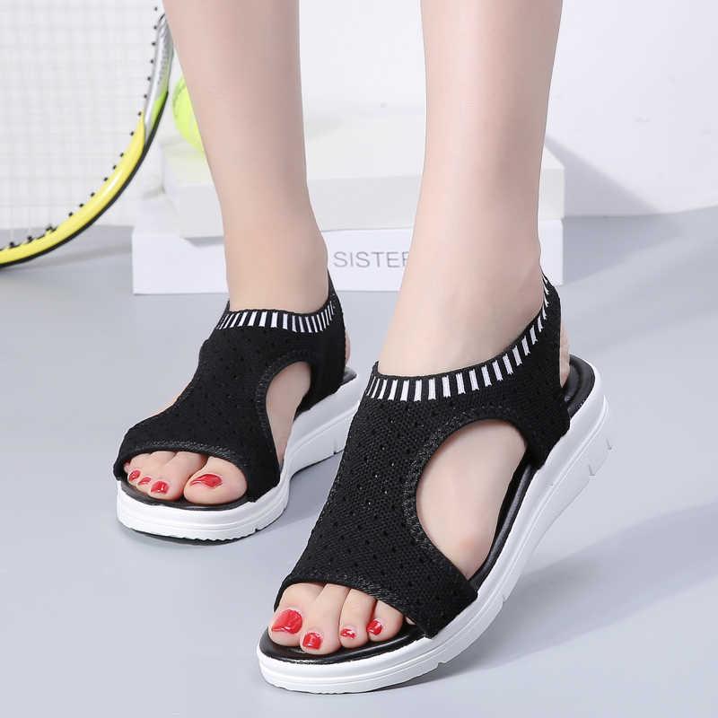 Модные женские сандалии Летняя дышащая обувь на плоской подошве; кроссовки из ткани в сеточку Женская Повседневное сандалии, удобная обувь женские большие размеры 35-41