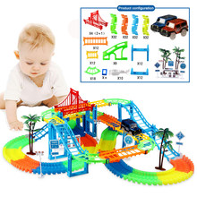 DIY track car Toy Racing Tracks Car KidsToys For Children Miraculous Glowing Race Track Bend Flashing New Flexible Railway Set(China)