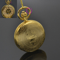 Men Mechanical Pocket Watch Roman Classic Fob Watches Shield Design Retro Vintage Gold Ipg Plating Copper Brass Case Snake Chain