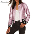 Fashion PU leather metallic baseball jacket autumn winter coat female 2016 striped short basic jackets women coats outerwear