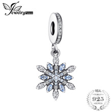 Jewelrypalace 925 Sterling Silver Froast Flower Created Blue Nano Dangle Beads Charms Fit Bracelets Fashion Jewelry For Women