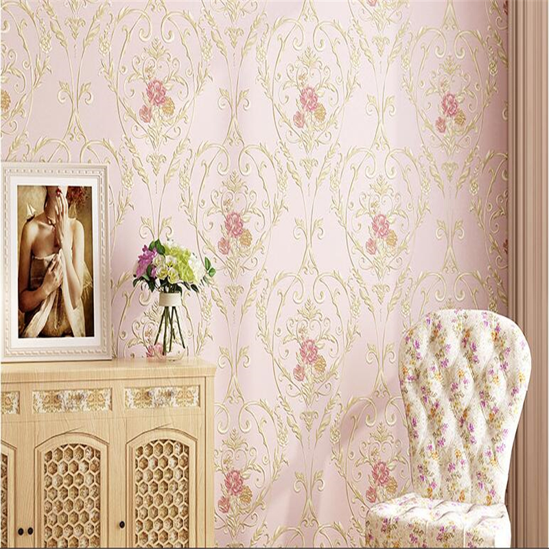 Beibehang wallpaper European pastoral wallpaper environmental non-woven living room bedroom TV background wallpaper non woven bubble butterfly wallpaper design modern pastoral flock 3d circle wall paper for living room background walls 10m roll