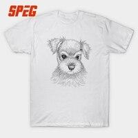 Hond Schnauzer Dier Leuke T-shirt Mannen Korte Mouw 100% katoen Ronde Hals Casual Solid Eenvoudige Tees Kleding T-Shirt Tees mannelijke