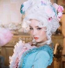 Marie antoinette princesa cabelo encaracolado médio perucas cosplay + touca peruca (sem headwears)