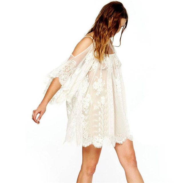 709e2c3c2a Summer Lace Beach Women Dress Boho White Mini Dresses Off shoulder Casual Half  Sleeve O Neck See Through Lace Sexy Dress #TH