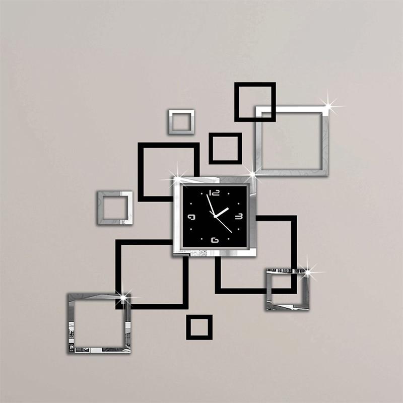 2018 new hot acrylic wall clocks 3d sticker europe fashion modern Quartz watch design sliver & black clocks art free shipping
