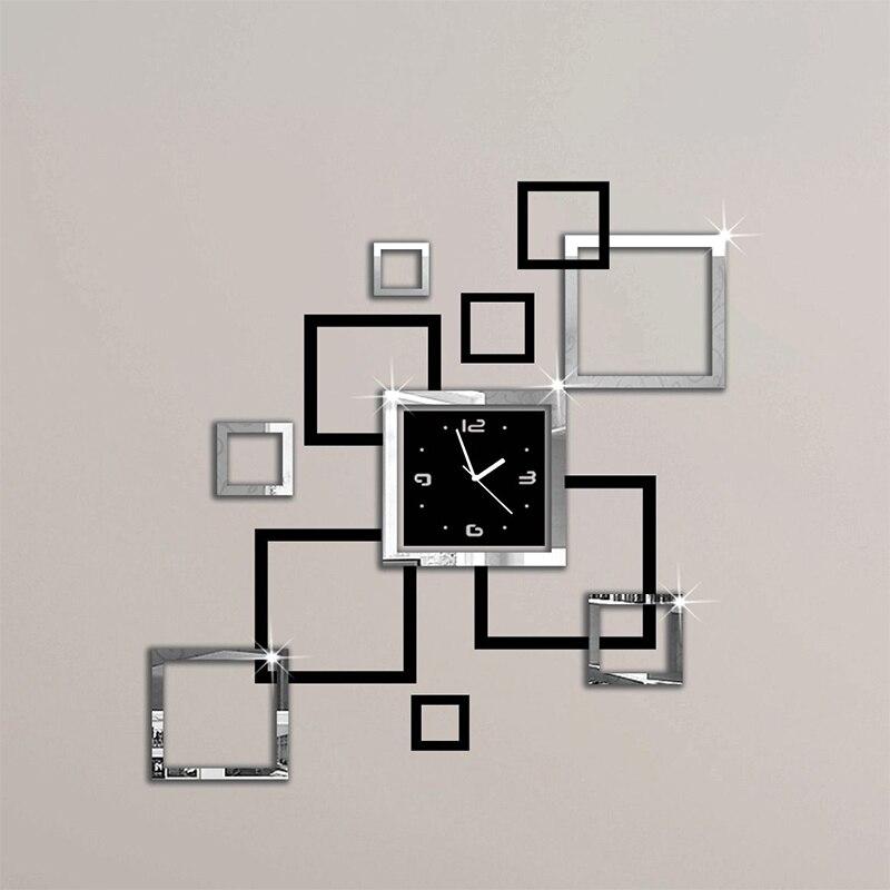 2018 nouveau chaud acrylique horloges murales 3d autocollant europe mode moderne Quartz montre design argent et noir horloges art livraison gratuite