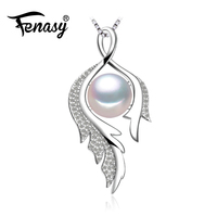 FENASY 925 sterling silver flower necklace pearl jewelry statement necklace Pearl pendant for women Bohemian feather necklace