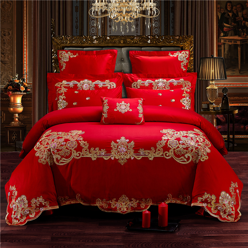 Luxury 100% Cotton Elegant Romantic Wedding Bedding Set Embroidery Duvet Cover Bed Sheet Pillowcases Queen King Size 4/6/8/9pcsLuxury 100% Cotton Elegant Romantic Wedding Bedding Set Embroidery Duvet Cover Bed Sheet Pillowcases Queen King Size 4/6/8/9pcs