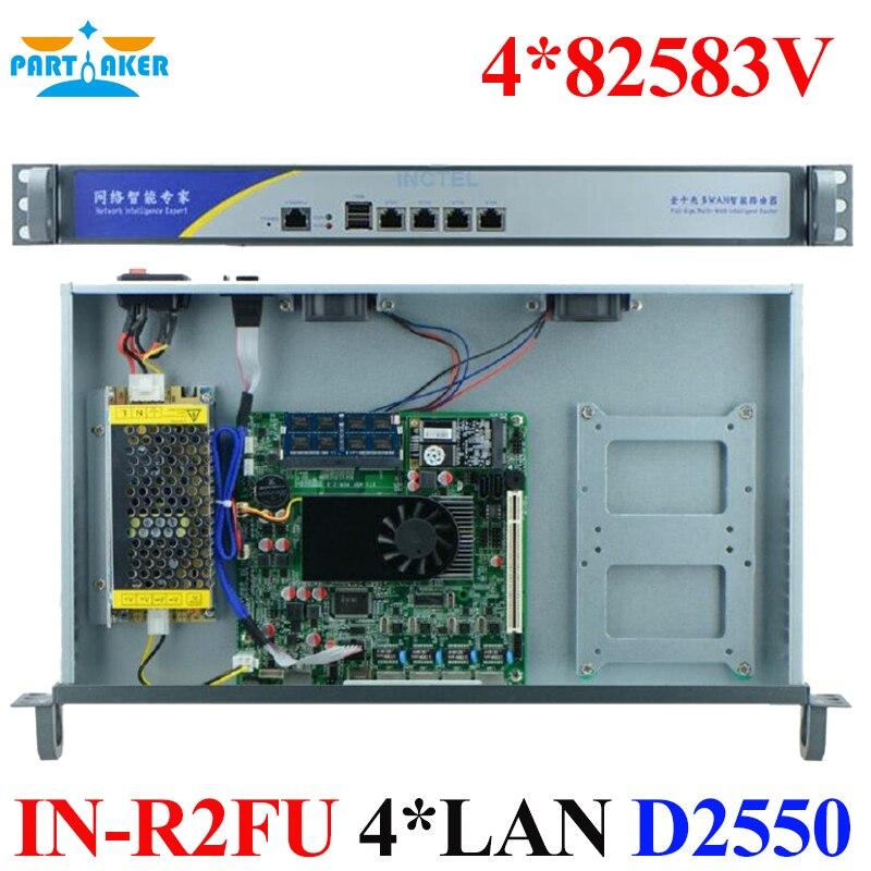 Partaker 1U Rack Mount 4 LAN Internet Security Firewall With Intel D2550 partaker 1u firewall server security firewall d525 with intel pci e 1000m 4 82583v 2gb ram 32gb ssd pfsense router